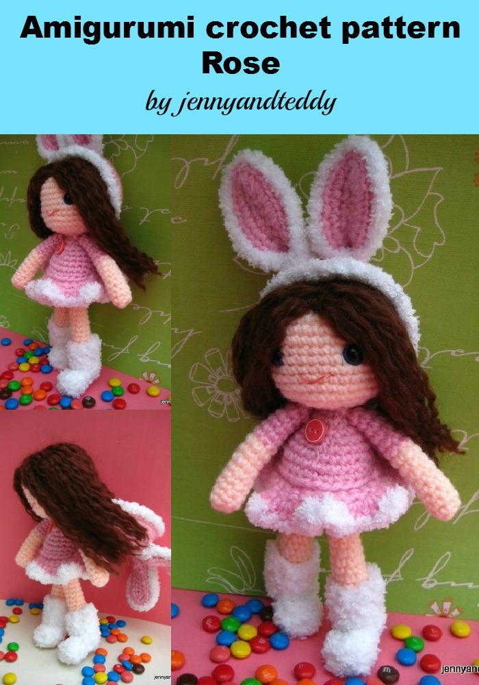Amigurumi Bunny Girl : Pdf Rose Girl With Bunny Hat Amigurumi Crochet Pattern ...